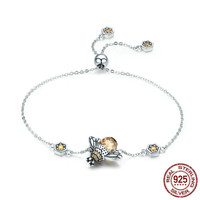 High Quality s925 sterling silver new bee bracelet ladies personality adjustable cubic zircon bracelet