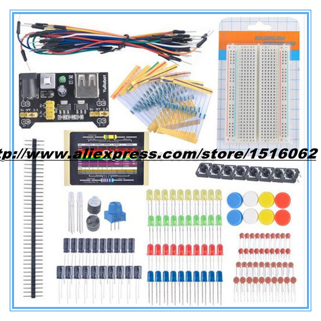 Para Arduino Starter Kit Electrónico Fans Kits Breadboard Cable de Resistencia Condensador LLEVÓ Potenciómetro