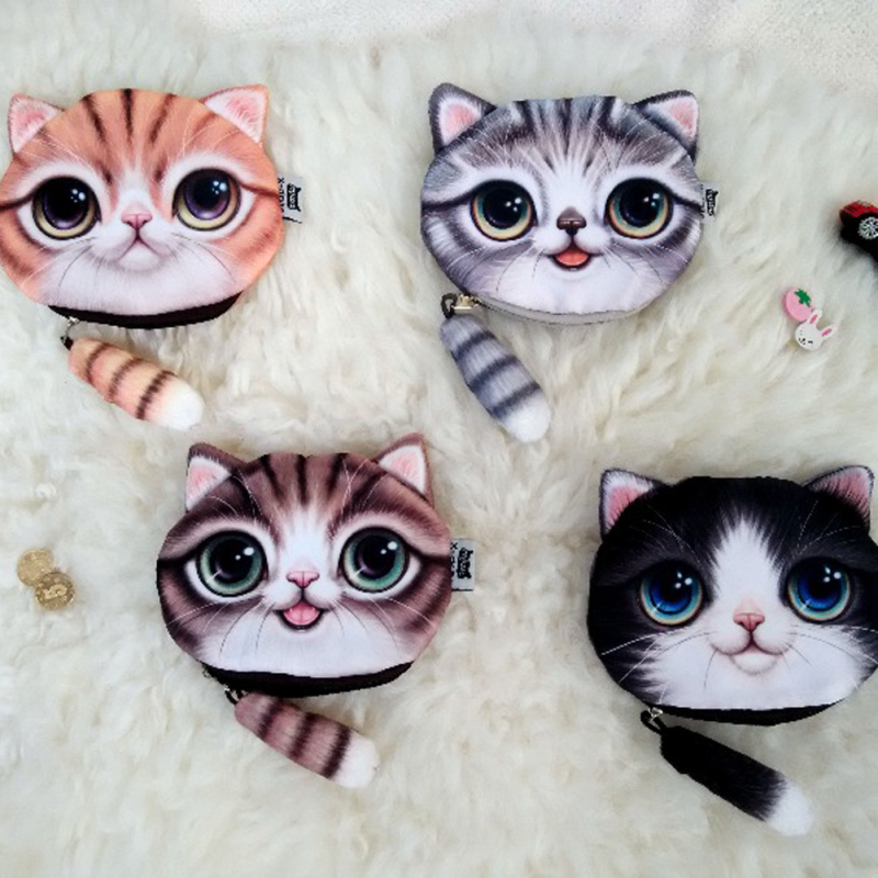 2017 New Girl Coin Purses Wallet Ladies 3D Printing Cats Animal Big Face Change Fashion Cute Small Zipper Bag For Women Kid Gift 2015new ladies coin purses wallet 3d printing dog cat animal big face change fashion cute small zipper bag women