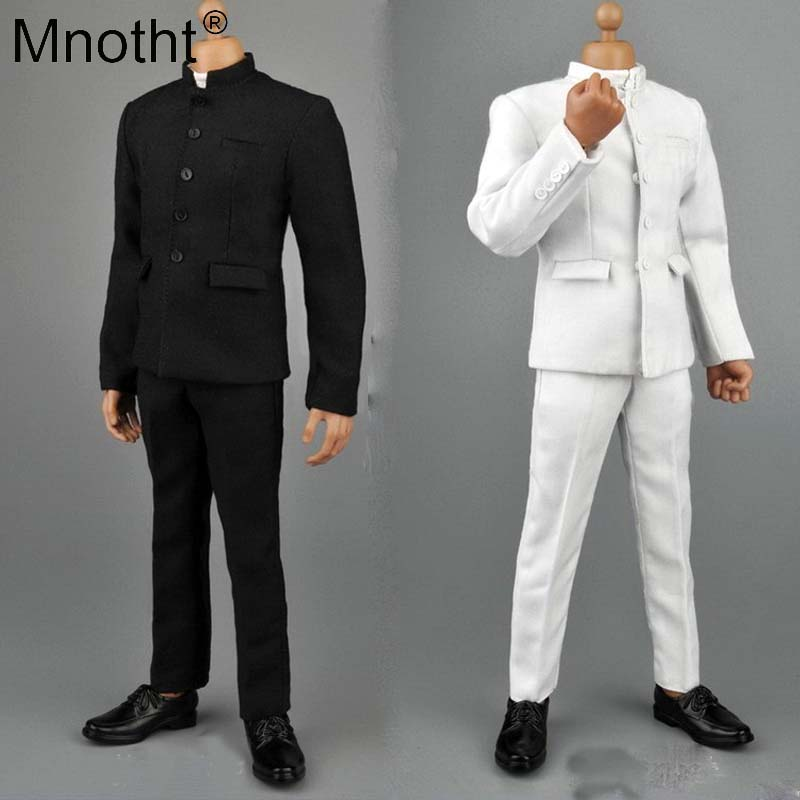 Mnotht 1 6 Scale Men s wear Tunic suit Black White Men Solider Suit With Trousers