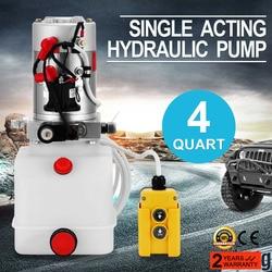 4 Quart Single Acting Hydraulic Pump Dump Trailer Lift Power Unit Car