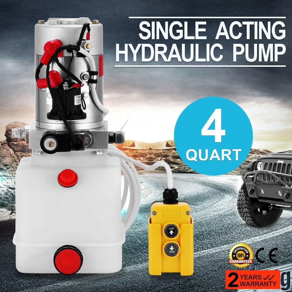 Quart 4 Carro Elevador Hidráulico Unidade de Alimentação Simples Efeito Da Bomba De Plástico para Reboque de Despejo 12 V