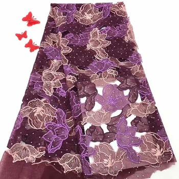 Best Selling 2018 Products Embroidery French Lace Fabric High Quality Tulle Lace With Stones Women's Dress