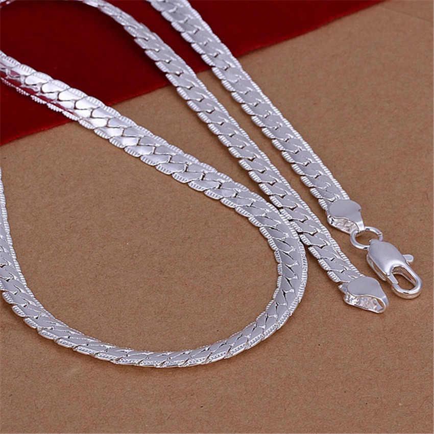 ファッション卸売シルバー 5 ミリメートルヘビチェーン女性男性貴族ネックレスファッショントレンドジュエリーギフトシルバー色 N130 、
