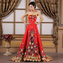 Luxury Yellow Flower Embroidery Evening Gowns Pregnant Women Cheongsam Long Qipao Chinese Traditional Wedding Dress