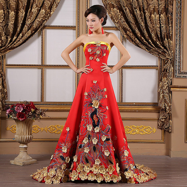 1af56f260 Luxury Yellow Flower Embroidery Evening Gowns Pregnant Women Cheongsam Long  Qipao Chinese Traditional Wedding Dress