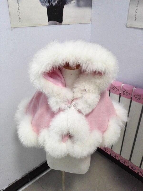 Livraison gratuite printemps automne hiver enfant age1/2 vraie fourrure de renard garniture en cachemire étole pour la fête