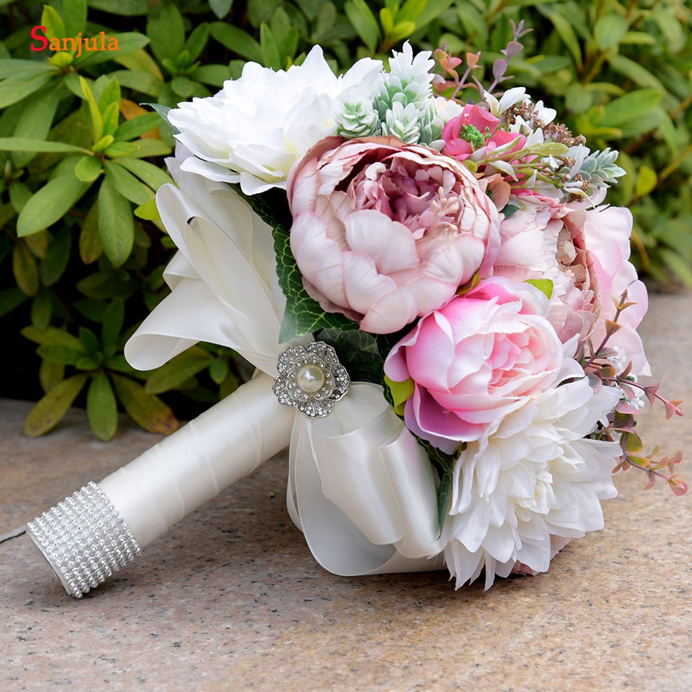 Купить с кэшбэком Peony Bridal Flowers Aritifical Bouquet Holder Colorful Hand Wedding Bouquets For Bridesmaids New  H003