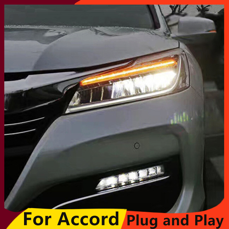 Kowell Car Styling For Honda Accord 10th Headlights 2016 2017 Led High Beam Low With Yellow Turning Signal Bar In Light Embly From
