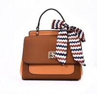 Fashion casual silk scarf doctor bag scrub color block one shoulder women's handbag cross-body bag diemi8