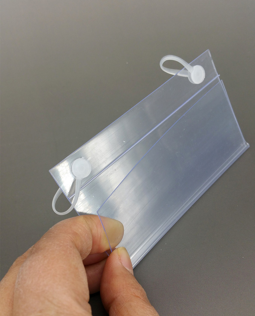 100x55mm PVC Plastic Price Tag Card Label Display Clip Holders By ...