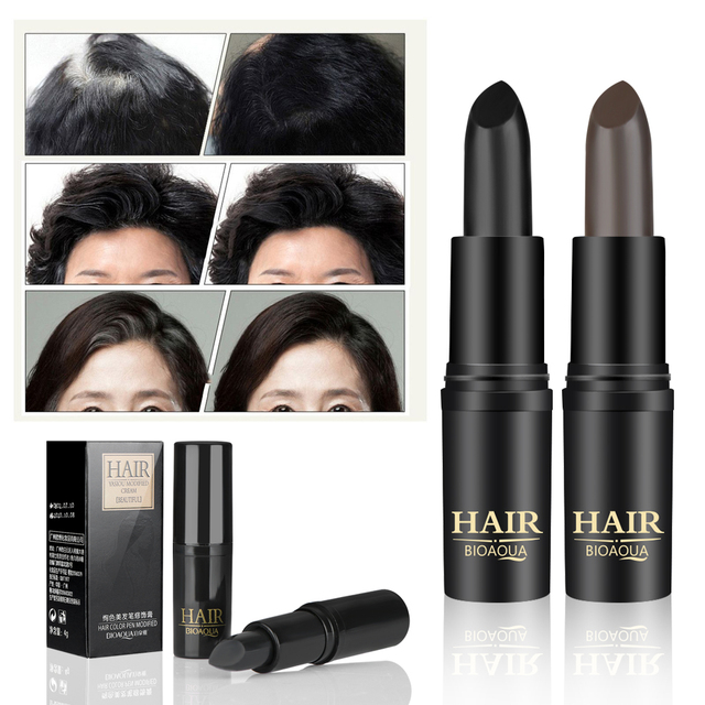 1PC Long-Lasting Black Brown Temporary Hair Dye Cream Mild Fast One-off Hair Color Pen Cover White Hair DIY Styling Makeup Stick 1