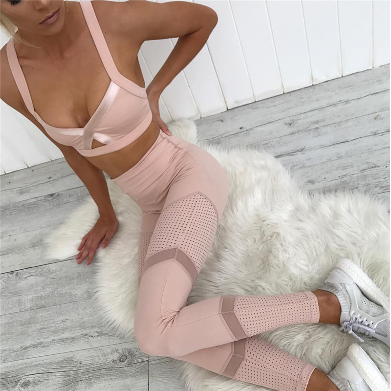 Pink Color Yoga Sets Breathable Mesh Patchwork Workout Clothes Women Legging V-neck Bras Female Sport Suits Running Sportswear