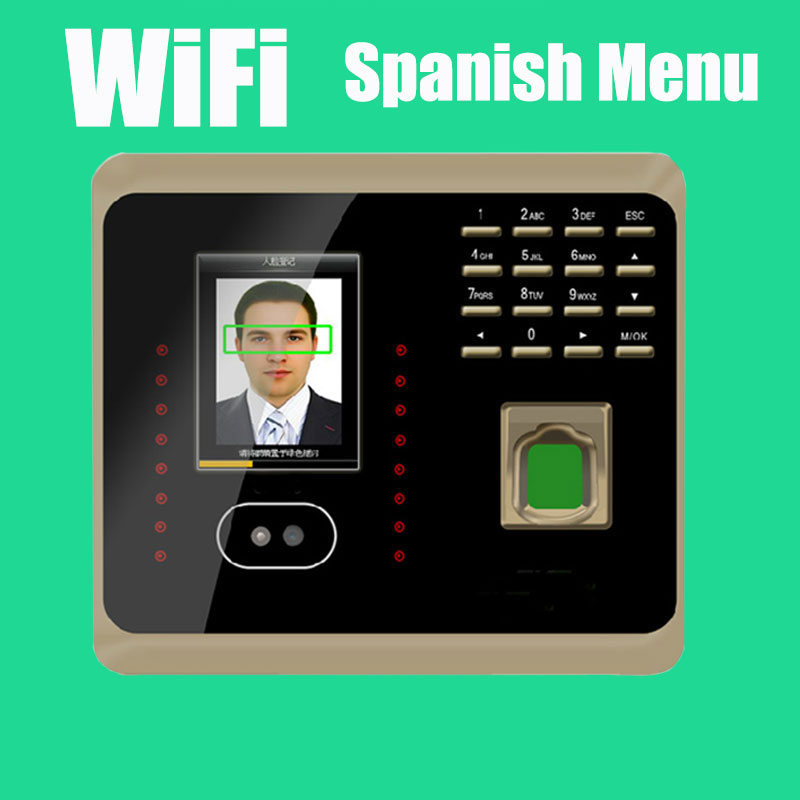 Spanish Menu  face Recognition Time Attendance with Fingerprint Reader TCP/IP WIFI Facial Employee Time Clock UF100 Plus good quality zk biometric face and fingerprint time attendance tcp ip wifi face time clock with keypad employee time attendance