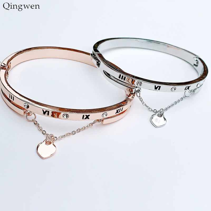 Qingwen Hot Luxury Rose Gold Stainless Steel Bracelets Bangles Female Heart Forever Love Charm Bracelet Women Famous Jewelry