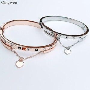 Qingwen Hot Luxury Rose Gold Stainless Steel Bracelets Bangles Female Heart Forever Love Charm Bracelet Women Famous Jewelry(China)