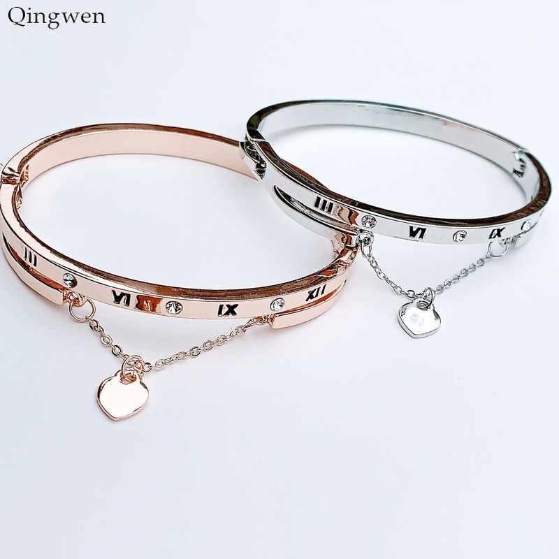 Qingwen Hot luksusowe różowe złoto bransoletki ze stali nierdzewnej bransoletki kobiece serce na zawsze bransoletka love charm kobiety słynnej biżuterii