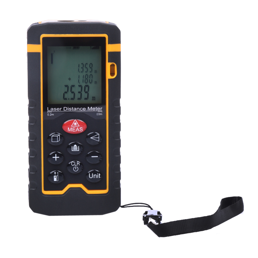 9Key 80M 262ft 3149in Laser Distance Meter Rangefinder LCD Digital Laser Tape Range Finder Measure Diastimeter