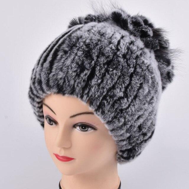 1d4379d8fe Futrzane czapki dla kobiet zima prawdziwe rex królik kapelusz z silver  futra lisa futro królika rosja hot moda dobrej jakości kobiet ciepła  czapeczka