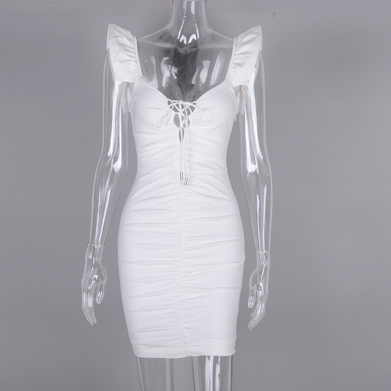 Image 4 - NewAsia 2019 White Summer Dress Women Butterfly Sleeve Deep V neck Cut Out Lace Up Ruched Sexy Dress Mini Elastic Bodycon Dress-in Dresses from Women's Clothing