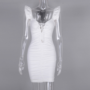 Image 4 - NewAsia 2019 White Summer Dress Women Butterfly Sleeve Deep V neck Cut Out Lace Up Ruched Sexy Dress Mini Elastic Bodycon Dress