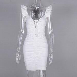 Image 4 - Женское мини платье с рюшами NewAsia, белое эластичное облегающее платье с рукавом бабочкой и глубоким v образным вырезом, на шнуровке, лето 2019