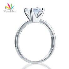 Павлин звезда Стерлинговое Серебро 925 пробы Пасьянс Свадьба юбилей обручальное кольцо 1 карат Принцесса Cut CFR8025