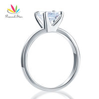 1 CARAT PRINCESS CUT SIMULATED DIAMOND STERLING 925 SILVER ENGAGEMENT RING CFR8025