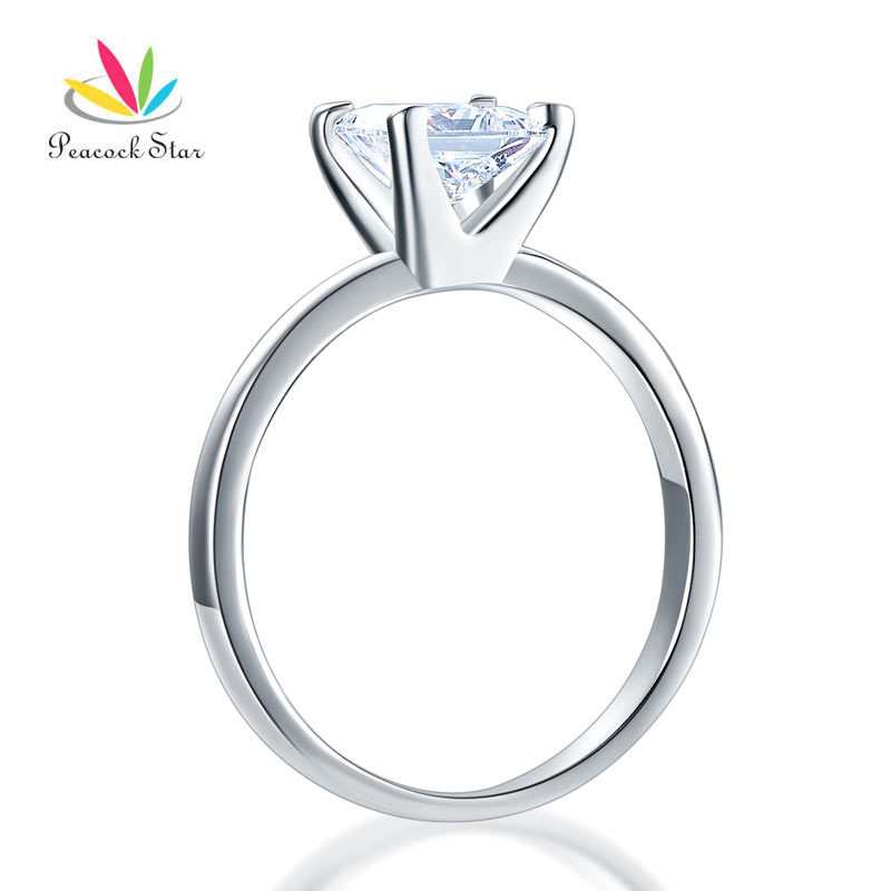 все цены на Peacock Star Sterling Solid 925 Silver Solitaire Wedding Anniversary Engagement Ring 1 Ct Princess Cut CFR8025