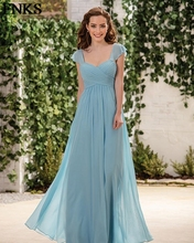 Simple Elegant Long Chiffon Bridesmaid Dress Pleat Ruched Plunging Neck Wedding Guest Gowns Party Dresses nedime elbisesi PB25