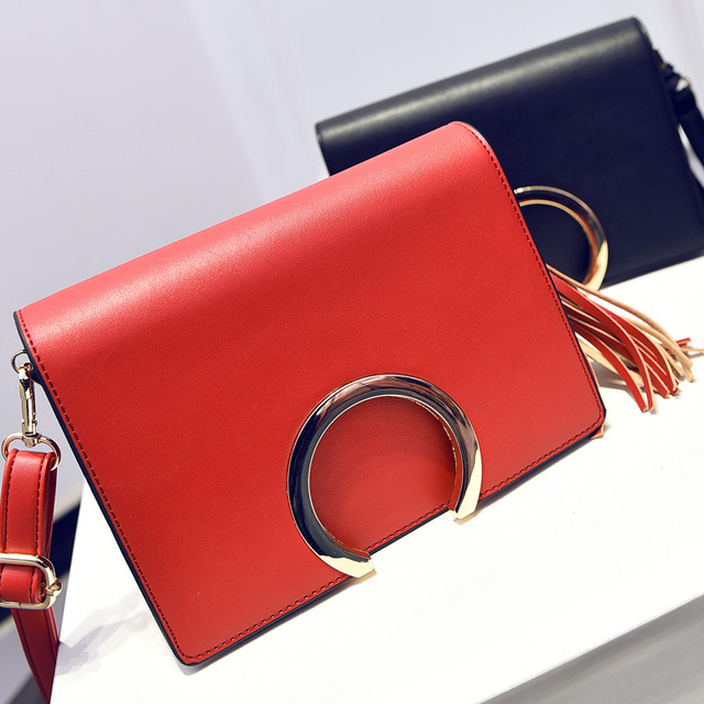 Simple Women Shoulder Bag Ladies 2017 New Women's Leather Handbags Solid Color Tassel Bags Day Clutches Messenger Bags