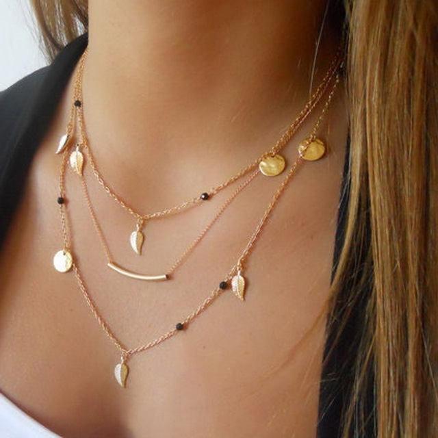 Kittenup New Gold Silver Color Chain beads Leaves Pendant necklace fashion jewelry multi layer necklaces for women