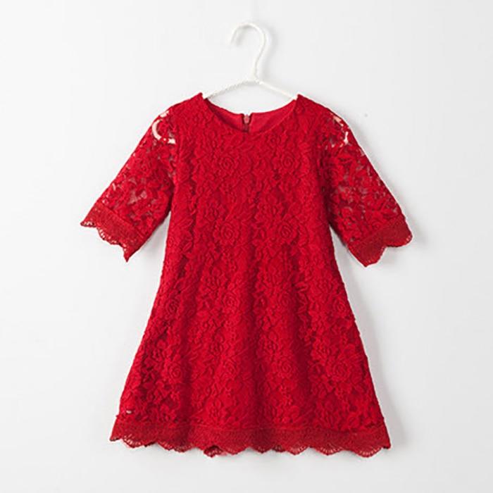 Ana Daugter Dress 2019 Yeni Moda Yaz Payız Dantel paltarları - Uşaq geyimləri - Fotoqrafiya 6