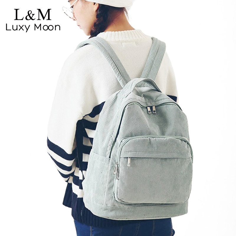 Luxy moon Corduroy Backpack For Teenage Girls Vintage Women Casual Backpacks Students School Rucksack Brown Travel Bag XA628H luxy moon women backpack vintage school bags teenage girls shoulder bag pu leather zipper backpacks book casual rucksack xa1063h