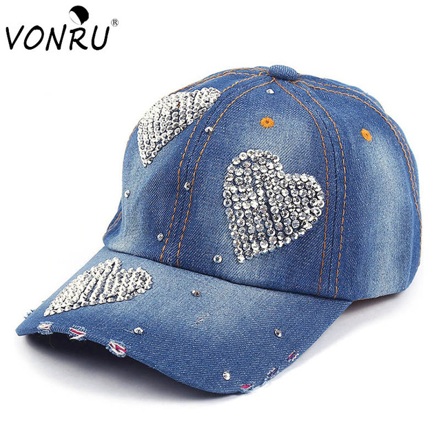 1439dba90bf New Crystal Denim Baseball Cap Women Heart Shape Rhinestones Vintage Jean  Cotton Hip Hop Adjustable Cap