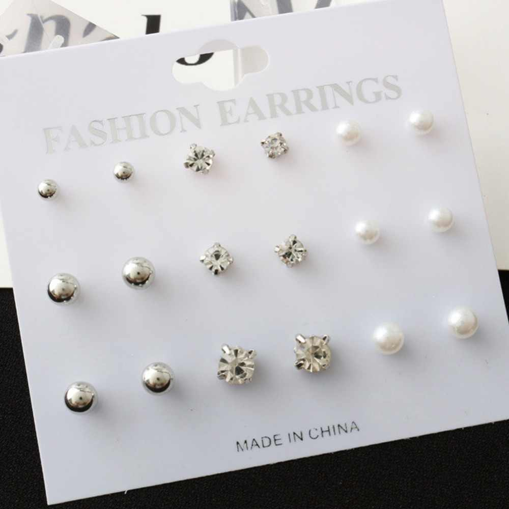 New Fashion Simple Round 9 Pairs Large And Small Pearl Crystal Earrings Set Boucle D'oreille Femme Stud Earrings #277326