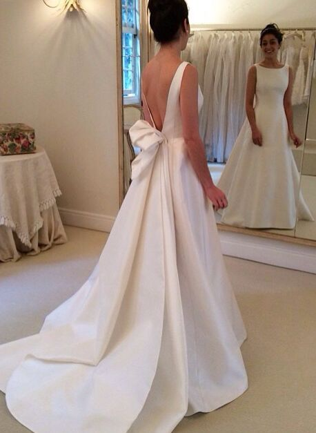 Ruban Une 2018 Simple Vintage Robes Haut Mariée De Avec Robe Ligne Satin Col Noiva Backless rPqP6IH