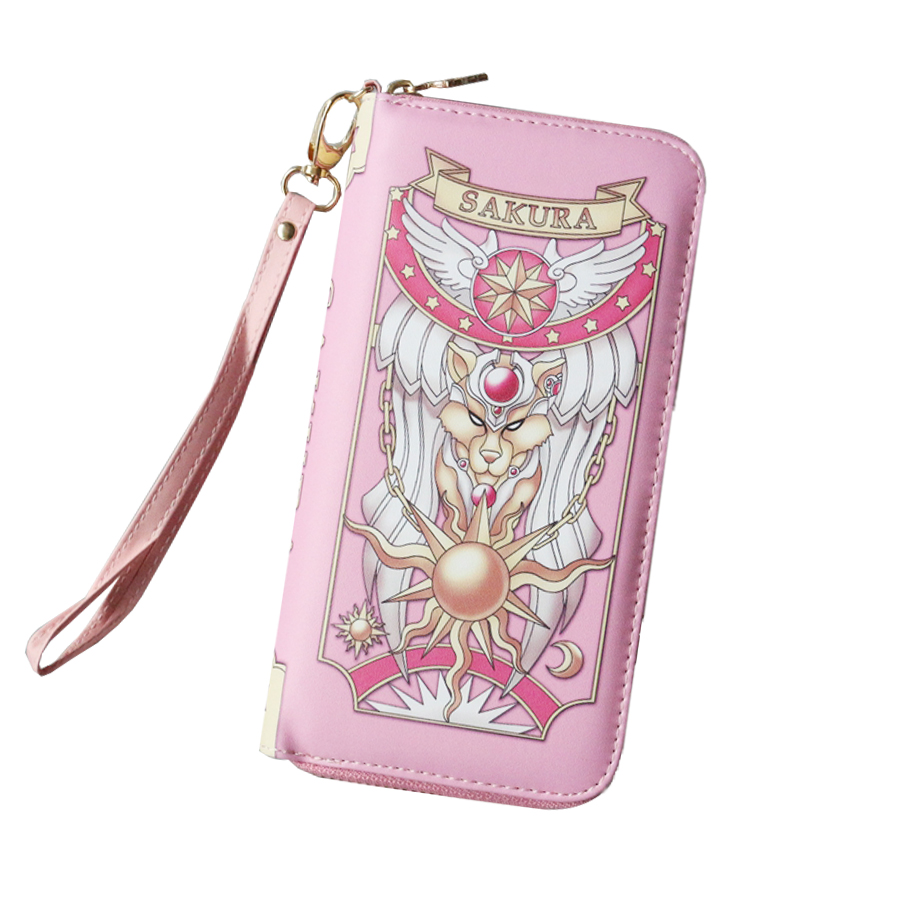 Japan Anime Card Captor Sakura Wallet Girls Cute Women Purses Grimoire Bag Kawaii Cosplay Clow Hand Bag Purse Round Coin Purses japan anime pocket monster pokemon pikachu cosplay wallet men women short purse leather pu coin card holder bag