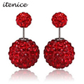 2016 Double Stud Rhinestone Earring Shambhala High Quality Double Ball Rhinestone Stud Earrings/New Fashion Jewelry for Women