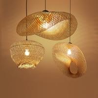 Бамбук плетеная из ротанга волна тени подвесной светильник деревенский Винтаж японский лампа Подвеска домашние обеденный стол