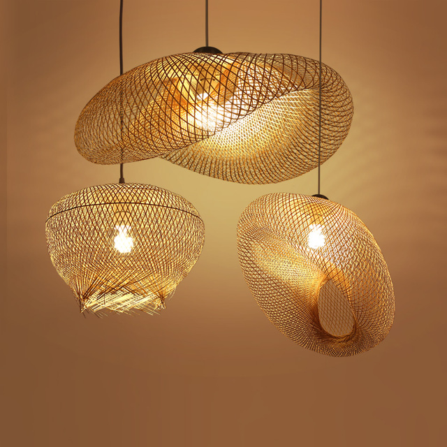 Bambou osier rotin vague ombre pendentif luminaire rustique Vintage ...