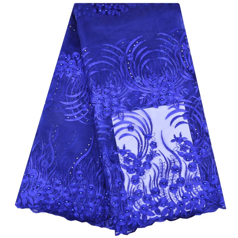 royal blue african lace fabric with beads 2018 beaded lace fabric for wedding dress bridal nigerian