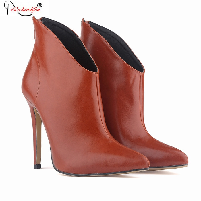 New 2017 Autumn/Winter Women's Boots Zip With Soft Leather Thin Heels Boots Ladies' Pointed Toe Ankle Boots Shoes SMYNLK-B0133 2015 autumn korean style pointed shoes with thin heels original glass double peach heart design shoes leather shoes