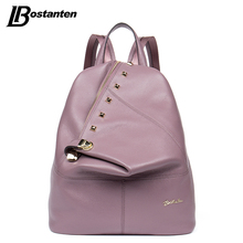 BOSTANTEN Real Genuine Leather Women Backpacks Gril Large Laptop Daily Backpack Travel Mochila Feminina School Bags for Teenager