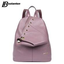 BOSTANTEN Real Genuine Leather Women Backpacks Gril Large Laptop Daily Backpack Travel Mochila Feminina School Bags for Teenager