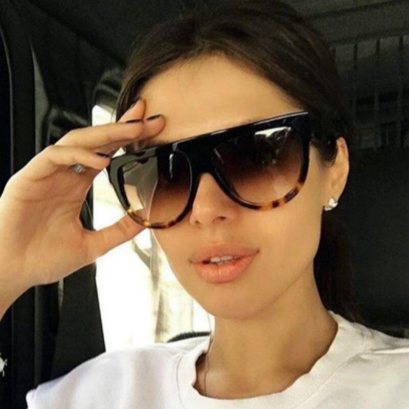 HJYBBSN Oval Women Sunglasses 2019 New Fashion Big Flat Top Half Round Frame Shield Sun Glasses Leopard Black Color Women Shades