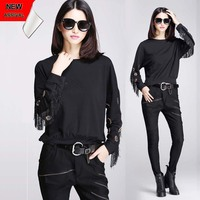 Europe O Neck Long Sleeved Black Rivet Punk Loose T Shirt Fashion Knit Pullover Cropped Tassel