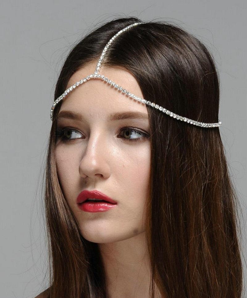 Rhinestone Head Chain Silver Plated Bridal Head Chain  Hair Jewelry Boho Headpiece Crystal Wedding Heads Chains