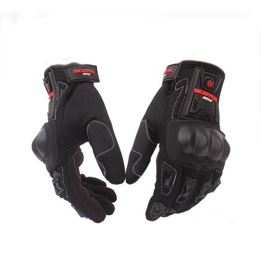 Breathable Gloves Cycling Racing Riding Protective Gloves Motocross Gloves For Scoyco MC12 Full Finger Carbon Safety