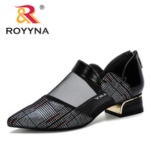 ROYYNA 2019 New Women Pumps Square Heels Shoes Sexy Pointed Toe Fashion Wedding Shoes Woman Summer Pumps Shoes Female Mesh Comfy 2017 brand new european vintage pumps shoes for woman ds162 flock square toe straps sexy female ladies pumps shoes